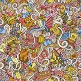 Kreskówki doodle wektorowych dzieci bezszwowy wzór ilustracja wektor