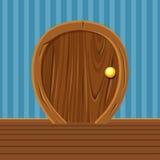 Kreskówki Drewniany Zaokrąglony drzwi Dla, Domowy wnętrze ilustracji