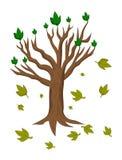 Kreskówki drzewo przerywa liście ilustracji