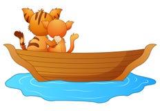 Kreskówki dwa koty w łodzi ilustracji