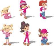 kreskówki dzieci ubrań ślicznej mody modne dziewczyn szkieł fryzury ustawiają Fotografia Royalty Free