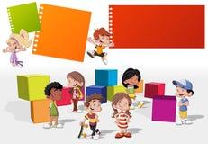 Kreskówki dzieciaków bawić się Zdjęcia Royalty Free