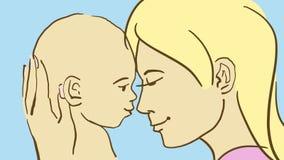 Kreskówki dziecka I mamy Headshot Zdjęcia Stock