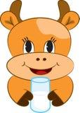 Kreskówki dziecka krowa z szkłem mleko Zdjęcia Royalty Free