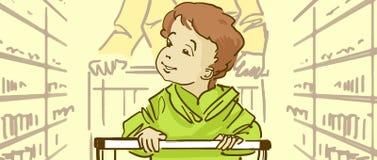 Kreskówki dziecka obsiadanie W supermarketa tramwaju Obraz Stock