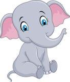 Kreskówki dziecka słonia śmieszny obsiadanie odizolowywający na białym tle ilustracji