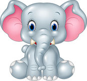 Kreskówki dziecka słonia śmieszny obsiadanie odizolowywający na białym tle Zdjęcie Royalty Free