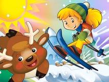 Kreskówki dziecka zjazdowy skok z boże narodzenie charakterami - ilustracja wektor