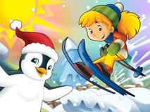 Kreskówki dziecka zjazdowy skok z boże narodzenie charakterami - royalty ilustracja
