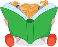 Kreskówki dziewczyna czyta książkę również zwrócić corel ilustracji wektora Obraz Royalty Free