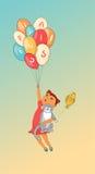 Kreskówki dziewczyna i kot z balonem Ręka rysująca wektorowa ilustracja Obrazy Royalty Free