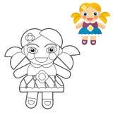 Kreskówki dziewczyna kolorystyki strona z zapowiedzią dla dzieci - lala - Obraz Royalty Free