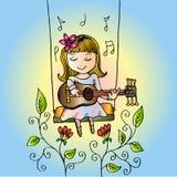 Kreskówki dziewczyna ono uśmiecha się na huśtawce, z gitarą ilustracji