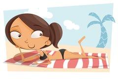 Kreskówki dziewczyna sunbathing Zdjęcia Stock