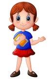 Kreskówki dziewczyna trzyma książkę Zdjęcia Stock
