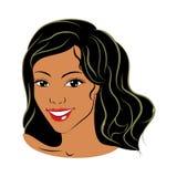 Kreskówki dziewczyna z ciemną skórą royalty ilustracja