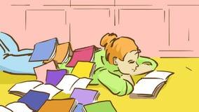 Kreskówki dziewczyna Z Dużo Rezerwuje Na Ona Z powrotem Kłama Na podłoga Zdjęcie Royalty Free