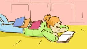 Kreskówki dziewczyna Z książkami Na Ona Z powrotem Kłama Na podłoga Zdjęcia Royalty Free