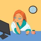 Kreskówki dziewczyna z zanudzającym wyrażeniem, patrzeje komputer Obrazy Royalty Free