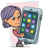 Kreskówki dziewczyny charakter z śmiesznym dużym smartphone royalty ilustracja