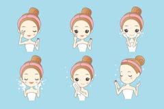 Kreskówki dziewczyny cleaning twarz Zdjęcie Royalty Free