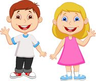 Kreskówki dziewczyny i chłopiec falowania ręka Zdjęcie Stock
