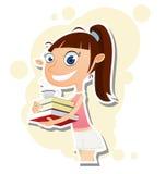 Kreskówki dziewczyny mienia kawa i książki Obrazy Stock