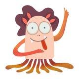 Kreskówki dziewczyny monstrik z językiem, fantazji powieściowa ilustracja na dziecko tematach dla otwartego, dziecko książki, kos royalty ilustracja