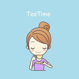 Kreskówki dziewczyny napoju herbata royalty ilustracja