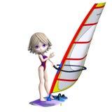 kreskówki dziewczyny trwanie surfboard cukierki Zdjęcia Stock