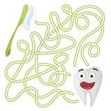 Kreskówki edukaci labirynt lub labitynt gra dla dzieci z Ślicznym zębem i muśnięciem ilustracja wektor