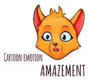 Kreskówki emocja lis - zdumienie ilustracja wektor