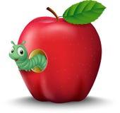 Kreskówki eorm w jabłku Zdjęcie Royalty Free