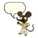 kreskówki falowania mysz z mowa bąblem Obrazy Royalty Free