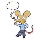 kreskówki falowania mysz z mowa bąblem Zdjęcie Royalty Free