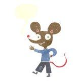 kreskówki falowania mysz z mowa bąblem Fotografia Stock