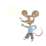 kreskówki falowania mysz z myśl bąblem Zdjęcia Stock
