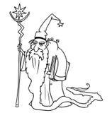 Kreskówki fantazi czarownika Wektorowy Średniowieczny czarnoksiężnik lub Królewski doradca ilustracji