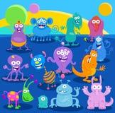 Kreskówki fantazi obcego lub potwora charaktery Zdjęcia Royalty Free