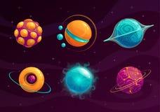 Kreskówki fantazi planety Ustawiać ilustracja wektor