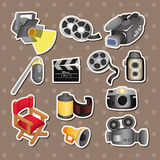 Kreskówki filmu wyposażenia ikony set Fotografia Royalty Free
