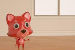 Kreskówki firefox na pokoju ilustracja 3 d Obraz Stock