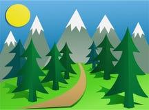 Kreskówki góry krajobraz ilustracji
