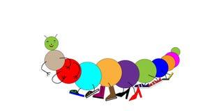 Kreskówki gąsienicowy centipede w kolorowych butach Udziały buty na nogach wektor Obrazy Stock