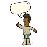 kreskówki główkowania pozytywny mężczyzna w łachmanach z mowa bąblem Obrazy Stock