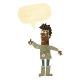 kreskówki główkowania pozytywny mężczyzna w łachmanach z mowa bąblem Zdjęcia Stock