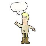 kreskówki główkowania pozytywny mężczyzna w łachmanach z mowa bąblem Fotografia Stock