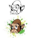Kreskówki głowy małpa ilustracji