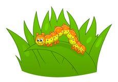 Kreskówki gąsienica na trawie ilustracji