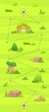 Kreskówki gemowa mapa dla przypadkowych gier Graficzny interfejs użytkownika, wektorowa ilustracja Obraz Royalty Free